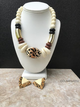 Bold Tiger Leopard Look Necklace Earring Set White Brown Black Chunky Je... - $28.00