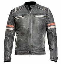 Cafe Racer Distressed Black Retro Vintage Motorcycle Slimfit Leather Jacket image 1