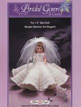 Bridal Gown, Fibre Craft Crochet Bed Doll Clothes Pattern Booklet FCM144  - $3.95