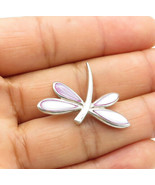 925 Sterling Silver - Vintage Purple Mother Of Pearl Dragonfly Pendant - P9809 - $23.09