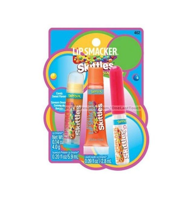 Primary image for LIP SMACKER* 3pc Set TROPICAL Balm+Squeezy+Liquid Gloss SKITTLES New Style 1b