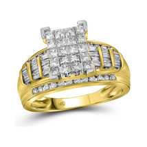 14kt Yellow Gold Princess Diamond Cluster Bridal Wedding Engagement Ring... - £1,610.53 GBP