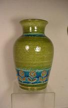 """MCM Aldo Londi Bitossi Rosenthal Netter Green Thai Silk Vase Italy 8"""" - $49.01"""