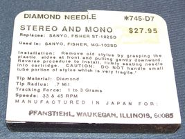 RECORD PLAYER TURNTABLE NEEDLE STYLUS for FISHER Sanyo ST-102 MG-102SD 745-D7 image 3