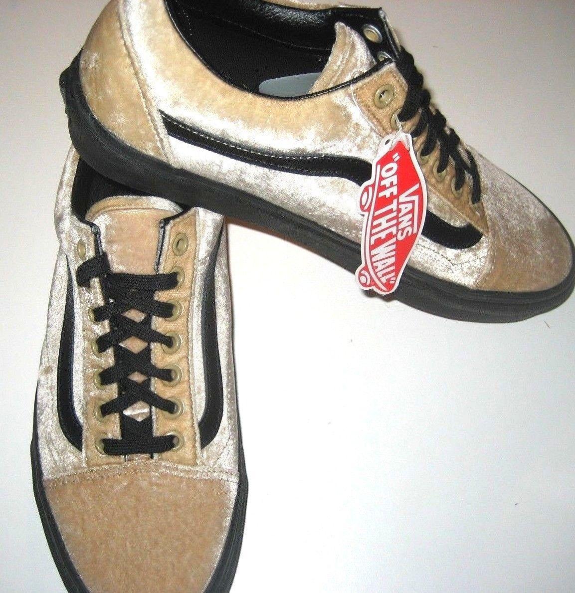 8184d0c6513aef Vans Mens Old Skool Velvet Tan Beige Black Skate Shoes size 9 NWT  VN0A38G1NQA