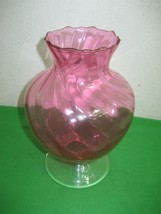 "Vintage Fenton Cranberry Vase Scalloped Edging 7.5"" Tall on Clear Pedestal - $16.79"