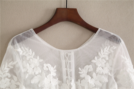 White Floral Tulle Lace Tops Bridesmaids Crop Lace Shirts-crop sleeve,white,plus image 6