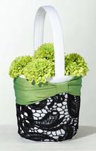 Green & Black Flower Basket Flower Girl Basket Wedding Basket - $11.00