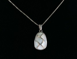 Vintage .925 Sterling Silver Mother of Pearl Patchwork Pendant Necklace ... - $17.99