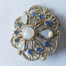 ***STUNNING*** Vintage gold tone brooch rhinstone Moonstone Chalcedony pin - $14.84
