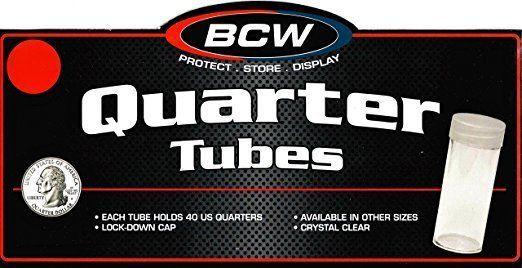 30 BCW ROUND CLEAR PLASTIC QUARTER COIN TUBES SCREW ON CAP
