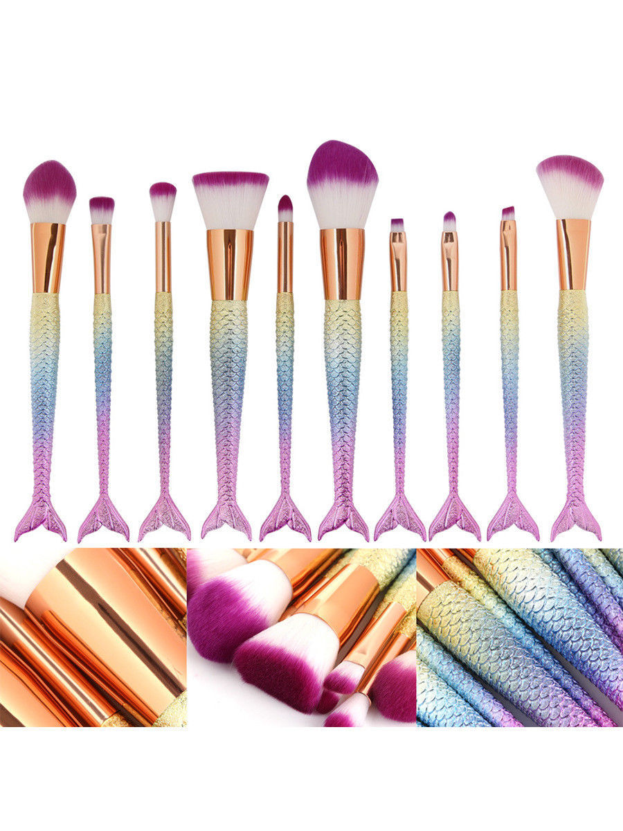 10 Pcs Mermaid Makeup Brushes Cosmetic Tool Eyeshadow Powder Blush Brush Set