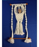 Ceramic Owl Macrame Wall Hanging Towel Hanger Holder White with Wooden D... - $9.89