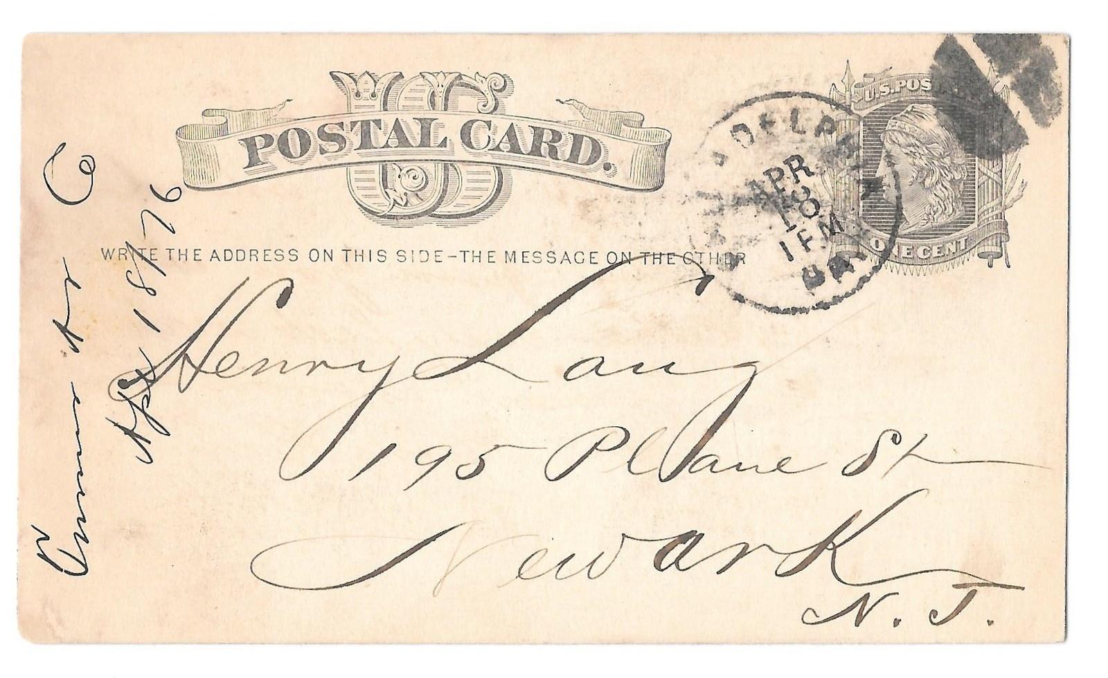 UX5 Phila PA 1876 Fancy Cork Cancel Turner Andrew Pocket Books Henry Lang Newark