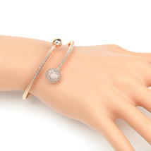 UE-Stylish Designer Rose Tone Wrap Bangle Bracelet With Swarovski Style Crystals - $19.99