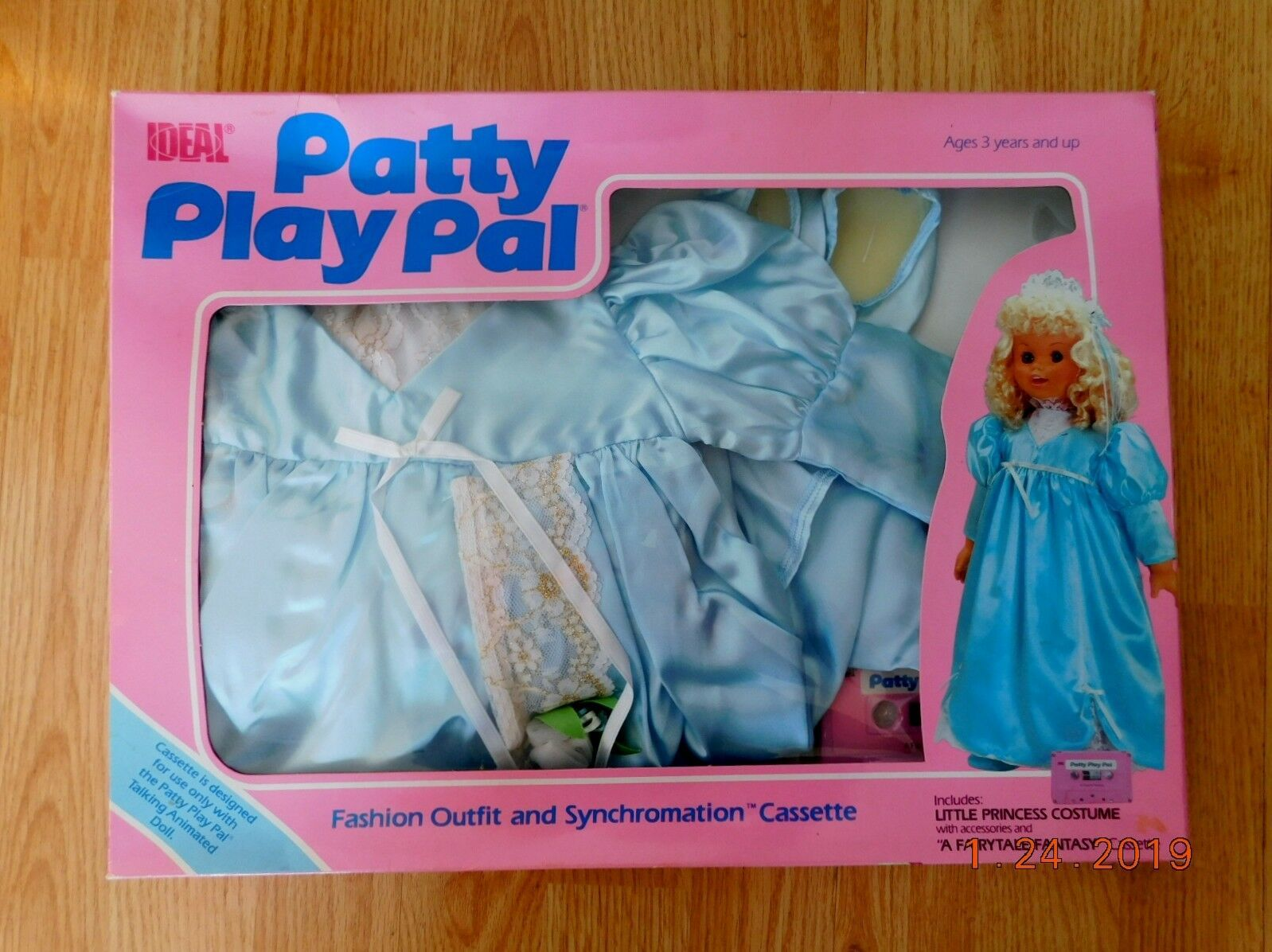 "Primary image for 1987 IDEAL TALKING 24"" PATTY PLAYPAL LIL PRINCESS COSTUME Fairytale CassetteNRFB"
