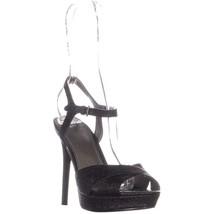 Guess Platform Ankle Strap Sandals, Black Texture, 10 US - $34.55