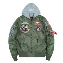 Aolamegs Bomber Jacket Men Badge Air Pilot Hooded Thin MA-1 Men's Jacket... - $73.53