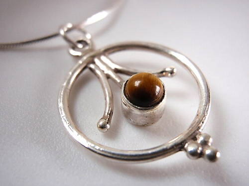 Primary image for TIGERS EYE 925 Sterling Silver Necklace Corona Sun Jewelry