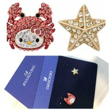 SWAROVSKI X Hello Kitty Auth Crab & Starfish Pierced Earrings New from J... - $239.96