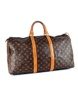 Auth Louis Vuitton Monogram Leather Keepall 50 Boston Travel Hand Bag w/ Lock209 - $444.51