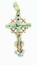 14k Multi Tone Gold Jesus Crucifix Cross Motion Marin Helm 14.4Gr Pendan... - $778.59