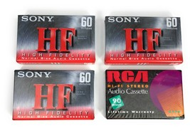 NIP Lot of 4 Sony RCA High Fidelity Stereo Blank Audio Cassette Tapes  - $13.96