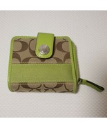 Coach Signature Stripe Khaki Green Apple Wallet Slim Fold - $81.64