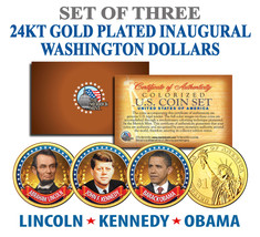 President OBAMA KENNEDY LINCOLN Presidential $1 US Dollar Gold Plated 3-... - $15.85