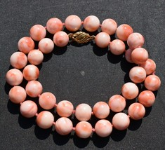 Large Rich Pink Coral Beaded Necklace 19 Inches 78.8 grams Fancy 14K Gold Clasp - $699.99