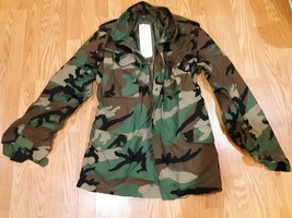 US Army Men's Camouflage Field Cold Weather Coat Jacket Lined Camo, X-Small Long - $32.62