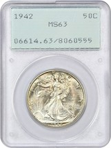 1942 50c PCGS MS63 ( Ogh Crotale Support) - Marche Liberty Demi Dollar - $67.90