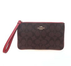 NWT COACH Large Wristlet Signature Clutch Wallet Logo Brown Ruby Red Gol... - €58,88 EUR