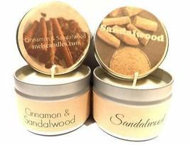 COMBO Cinnamon Sandalwood and Sandalwood Set of Two- 4oz Soy Tin Candles - $11.05