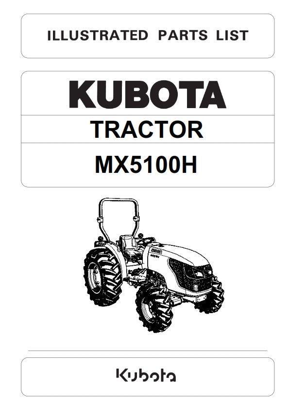 kubota tractor mx5100h illustrated parts manual reprinted comb bound