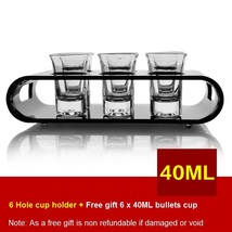 Black U-Shaped Tray Bar Club Small Bullets Cup Holder 6 Holes + Gift 40ml Glass - $41.48