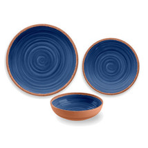 Rustic Swirl 12 Piece Melamine Dinnerware Set in Indigo Blue by TarHong - $109.28