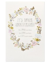 American Greetings Joys Love Life Anniversary Card for Couple with Glitter - $19.44