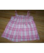 Size Medium 8 Gap Kids Summer Tank Top Shirt Pink Brown Plaid Cotton New - $15.00