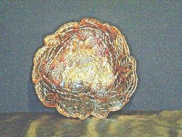 Amber leaf triangular Carnival Glass Vintage image 6