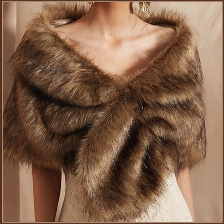 Primary image for Black Tip Brown Natural Sable Hair Mink Stole Faux Fur Cape with Collar Limited