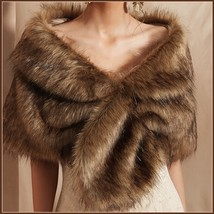 Black Tip Brown Natural Sable Hair Mink Stole Faux Fur Cape with Collar ... - $41.46