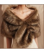 Black Tip Brown Natural Sable Hair Mink Stole Faux Fur Cape with Collar ... - $52.95
