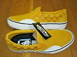 Vans Mens Slip on Pro Hairy Suede Banana Yellow Checker Skate shoes Size... - $51.47