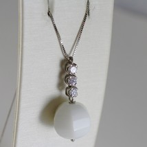18K WHITE GOLD CHAIN NECKLACE, ROUND FACETED WHITE AGATE 6.7 CT MADE IN ITALY image 2
