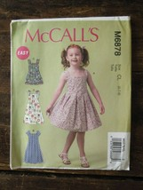 New Uncut Mccalls Easy Pattern Cl M6878 Girls Summer Dresses Dress Us Sz 6-8 - $4.85