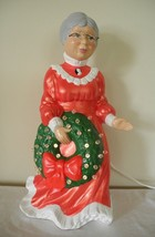 "Vtg Mrs Claus Ceramic Figure Light Up Wreath Electric Holland Mold 15"" H... - $98.99"