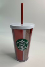Starbucks Holiday 16 oz Striped Red White Gold Glitter Grande Cold Cup - $19.43