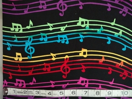 1/2yd music/colorful notes/staff/treble clef on black quilt fabric-free shipping image 2
