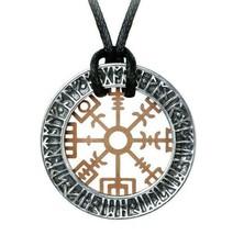 Alchemy Gothic Nordic Viking Rune Niu Heimar Vegvisir Pewter Brass Penda... - $22.45